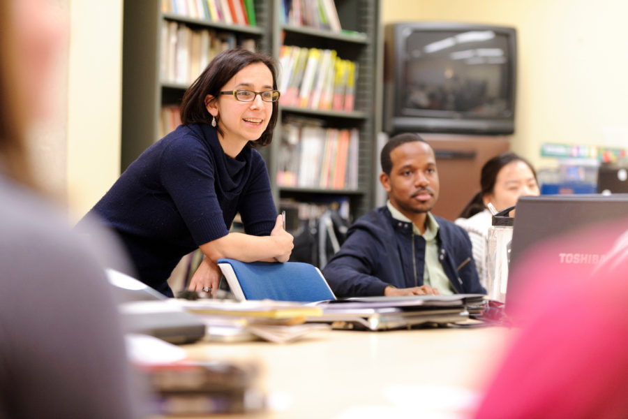 Erica Halverson, assistant professor of curriculum and instruction, teaches a graduate-level, identity-and-learning class in the Teacher Education building at the University of Wisconsin-Madison